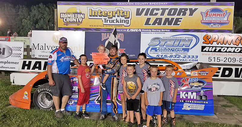Jason Hahne won the Malvern Bank Super Late Model main event on Saturday, June 16, 2018, at the Hamilton County Speedway driven by Spangler Automotive in Webster City, Iowa.