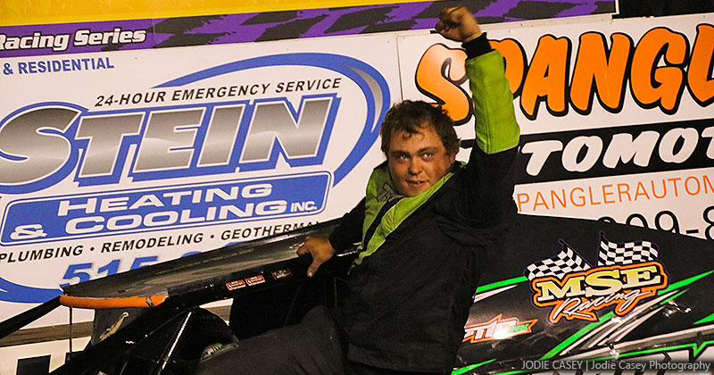Christopher Elliott celebrates after winning the Stein Heating & Cooling USRA B-Mod main event on Saturday, July 21, 2018, at the Hamilton County Speedway driven by Spangler Automotive.